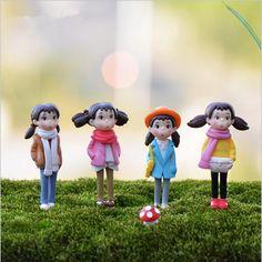 Big size 2pcs/lot Mini girl toy Figurines Home Decorations,Landscape Bonsai Plant DIY Ornament,mini girl dolls free shipping