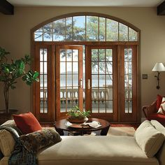 Make an entrance with French patio doors. Glass French Doors, French Doors Patio, Patio Doors, French Patio, Condo Living Room, Dining Room, French Door Curtains, Tuscan Decorating, Wood Interiors