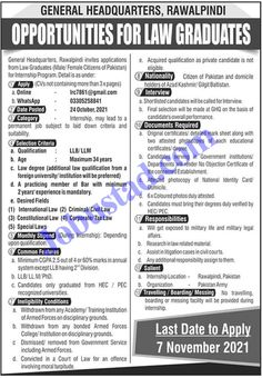 Jobs Description Latest GHQ Rawalpindi Internship 2021 GHQ Rawalpindi Internship 2021 has been announced through the advertisement and applications from the suitable persons are invited on the prescribed application form. In these Latest Internship in Pak Army the eligible Male/Female candidates from across the country can apply through the procedure defined by the organization and ... Read more The post GHQ Rawalpindi Internship 2021 Advertisement Application Form appeared first on JobUstad.