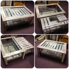 Repurposed chicken crate coffee table. Thick glass sits on top for a nice smooth surface to set stuff on. The chicken crate pulls out on soft close glides and opens up to get access to what's inside!