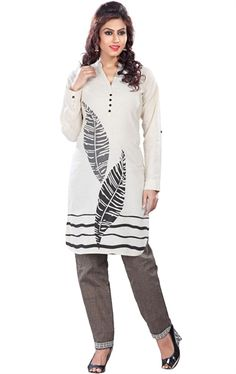 Tempting Off White Traditional Kurti