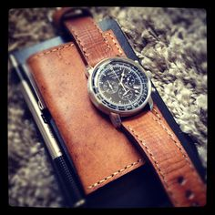 "Bas and Lokes ""Jones"" handmade leather watch strap with ""Mr. Jones"" handmade leather wallet and moleskine. #watchstrap #menstyle #essentials www.basandlokes.com"