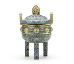A rare cloisonné enamel tripod incense burner and a cover, ding, Qianlong period.