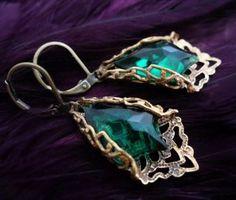 Green Fire - Original Filigree Jewelry Art Earrings by Vintage Filigree