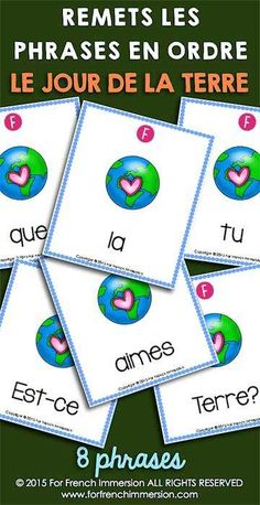 French Earth Day - Le jour de la Terre - For French Immersion French Teaching Resources, Teaching French, Classroom Resources, Teaching Spanish, Teaching Art, Classroom Ideas, Art Therapy Activities, Art Activities For Kids, Earth Day Information