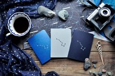 Night notebook-sketchbook with a carved pattern - constellation Ursa Major - set of 3 notebook (small size) - A6 - 100 x 140 cm (3.9 x 5.5