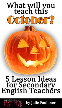 Halloween Lesson Ideas for high school English, middle school English, literature texts for Halloween Middle School Writing, Middle School Classroom, Middle School English, English Classroom, 8th Grade English, High School Teen, English Lesson Plans, High School Activities, American