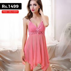 737f7e4d945 Pink Spaghetti Strap Short Gown Sexy Nighty for Rs.1499 Only Bridal  Nightwear