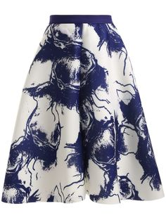 High Waisted Ink Painting Skirt