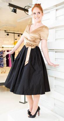 LindyBop šaty Gina, černé se zlatým topem