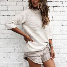 Shorts: linen linen nude frayed sweater white sweater grey tumblr three-quarter sleeves knitwear