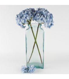 45 cm høj kr. 105,- Aflang Firkantet Glasvase, Grønlig,høj