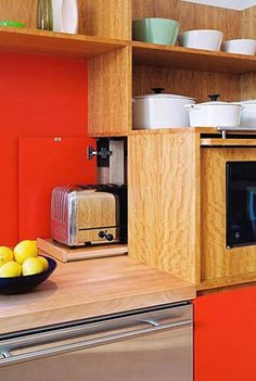 Hulburd Design San Francisco Kitchen 2  Appliances concealed on pull out trays behind custom panel doors!  Genius!