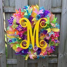 Spring Wreath Deco Mesh Monogram Wreath by WelcomingWreathsMore Wreath Crafts, Diy Wreath, Wreath Ideas, Tulle Wreath, Burlap Wreaths, Wreath Making, Diy Crafts, Easter Wreaths, Holiday Wreaths