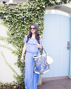 @loveplayingdressup is a vision in blue in our off-the-shoulder maxi (now on sale). 👗 #regram #whbm