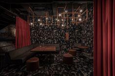 MAD Bars House in Lviv, Ukraine by YOD D|Bar Bauhaus Chair, Cozy Bar, Spa Center, Unique Restaurants, Open Fireplace, Big Kitchen, Banisters, Dim Lighting, Bar Lounge
