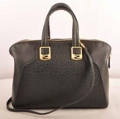 eb183a1c5123 Fendi Black Ostrich Veins Leather Tote Bag  359.00 Cute Jackets
