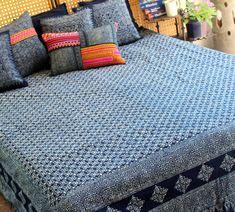 King Duvet Cover Natural Hmong Indigo Batik by SiameseDreamDesign,  #bohemian bedding #Hmong #indigo batik