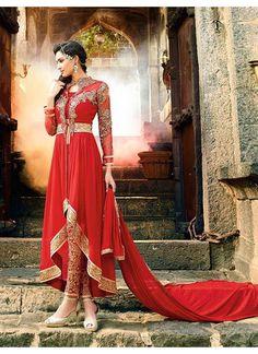 Couleur Rouge de Concepteur Indien Mariage Robe Anarkali Avec Pantalon