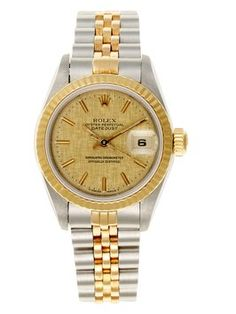Rolex Two-Tone Datejust Ladies's Watch. Champagne Linen. 18K yellow gold. Get the lowest price on Rolex Two-Tone Datejust Ladies's Watch. Champagne Linen. 18K yellow gold and other fabulous designer clothing and accessories! Shop Tradesy now