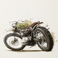 Motorcycle Illustrations By Tomas Pajdlhauser, Via Moto-Mucci. Motorcycle Posters, Motorcycle Art, Motorcycle Design, Bike Art, Bike Design, Art Design, Bike Sketch, Car Sketch, Art Moto
