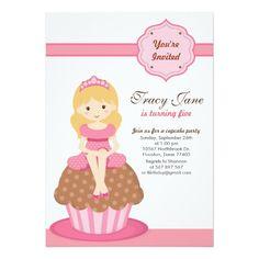 Pink Cupcake Princess Birthday Party Invitation