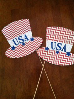 Top Hat Photo Props - Patriotic on Etsy, $11.00 Independance Day- photo booth prop