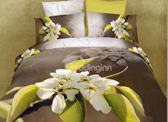 Fragrant Pear Flower Print 4 Piece 3D Duvet Cover Sets - beddinginn.com