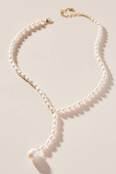 BaubleBar Pearl Lariat Necklace by in White Size: All Jewelry at Anthropologie - November 09 2019 at Diamond Solitaire Necklace, Diamond Pendant Necklace, Dainty Necklace, Lariat Necklace, Diamond Jewelry, Silver Jewellery, Diamond Necklaces, Circle Necklace, Pear Shaped Diamond