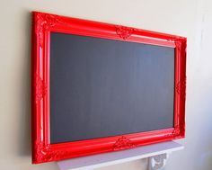 Chalkboard for notes, dinner, event reminders, silly drawings. DIY inspiration - home decor - red