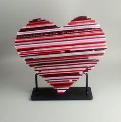 Patchwork Heart Fused Glass Art Sculpture FB615 by fostersbeauties