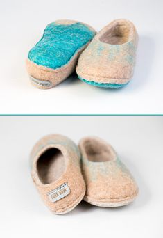 df6c1c197492 Beige and turquoise felted wool slippers for her from alpaca wool and  viscose