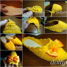 How to DIY Pretty Crochet Home Slippers   iCreativeIdeas.com Like Us on Facebook ==> https://www.facebook.com/icreativeideas