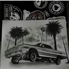 Lowrider Tattoo, Lowrider Drawings, Arte Lowrider, Chicano Drawings, Chicano Tattoos Gangsters, Lettrage Chicano, Cholo Tattoo, Tupac Tattoo, Arte Cholo