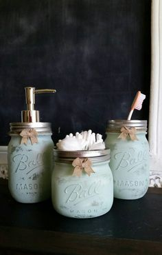 The bathroom set comes with Soap Dispenser, Toothbrush Holder & Qtip Jar $28 for all 3 (shown in SEA FOAM) can be distressed or solid and as