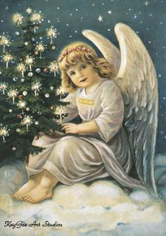 paintings of christmas angels Vintage Christmas Images, Victorian Christmas, Vintage Christmas Ornaments, Vintage Holiday, Christmas Angels, Xmas, Fairy Pictures, Angel Pictures, Cherub Baby