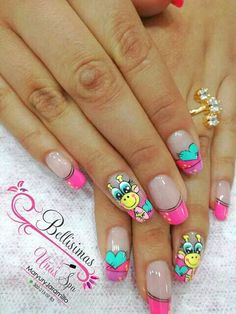 Cute Nail Art, Cute Nails, Pretty Nails, Wow Nails, Girls Nails, French Tip Nails, Flower Nails, Nail Manicure, Christmas Nails