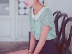 peter pan collar and high waisted shorts                                                                                                                                                     More