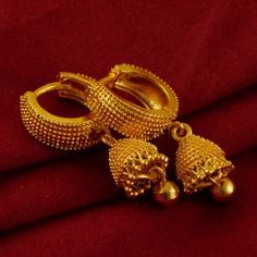 This jewelry made up of alloy plated with micron gold polish which make jewelry more durable. Note this in an artificial Jewelry not a real gold jewelry. Gold Jhumka Earrings, Jewelry Design Earrings, Gold Earrings Designs, Fashion Earrings, Fashion Jewelry, Gold Necklace, Gold Plated Earrings, Necklace Designs, Jewelry Art