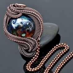 wire wrap pendant,copper pendatn,artisan glass,lampwork pendant,copper jewelry,wire weave,wire work