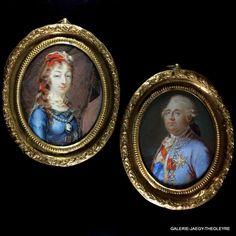 Louis XVI et Marie-Thérèse Charlotte de France duchesse d' Angoulème portrait miniature par Louise Barbault de La Broue de Saint Avit galerie Jaegy-theoleyre