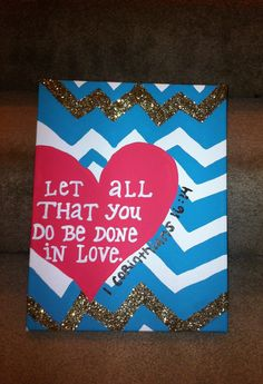 Chevron Striped Hand-painted Canvas with Quote Bible Verse. $20.00, via Etsy.