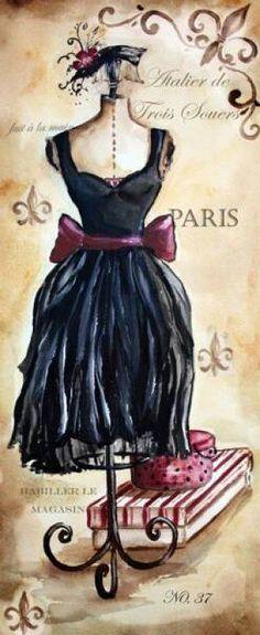 Vintage dress on dress form Vintage Labels, Vintage Ephemera, Vintage Posters, Printable Vintage, Free Printable, Images Vintage, Vintage Pictures, Vintage Paris, Mode Vintage