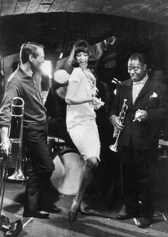 "kvetchlandia:  Frank Horvat     Paul Newman, Louis Armstrong and Unidentified Woman Dancer, Publicity Still for Martin Ritt's ""Paris Blues""     1961"