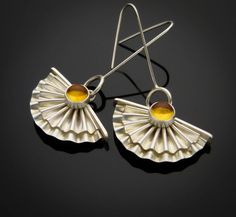 Escobilla- Sterling Silver Earrings with Citrine gems