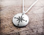 Thoreau inspirational quote necklace - Compass - Graduation. $69.00, via Etsy.