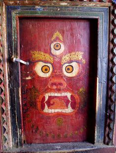 Doors as art. Doors in Lhasa, Tibet. Drawing on the door looks like a talisman against evil spirits Cool Doors, Unique Doors, Lhasa, Tibetan Art, Tibetan Buddhism, Buddhist Art, When One Door Closes, Knobs And Knockers, Door Gate