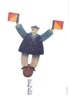 Fons Matthias Hickmann: Kieler Woche 2002 (2): Originalentwurf, Farboffset 59,5 x 42 cm Herausgeber: Kieler-Woche-Büro des Presseamtes der ...