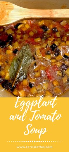 If you can't be in Spain, cook like you are! This delicious soup really had us feeling the Mediterranean feels. #nationalsoupmonth #eggplant #tomato #mediterraneansoup