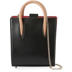 Christian Louboutin Paloma Nano Calf Tote Bag (365 KWD) ❤ liked on Polyvore featuring bags, handbags, tote bags, black, mini purse, tote purses, chain strap purse, christian louboutin and leopard print tote